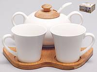 КОФЕЙНЫЙ СЕРВИЗ : 2 чашки 70мл + сахарница с ложкой на бамбуковой подставке