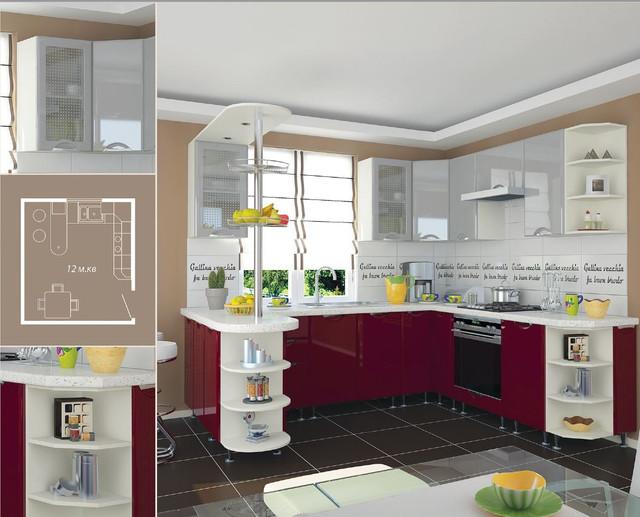 Кухня София Люкс (цвет бордо, серый)