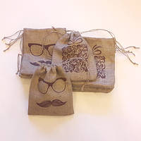 Джутовые мешочки с рисунком