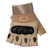 Перчатки Oakley с черным пластиком, б/п, Бежевый M