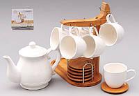 КОФЕЙНЫЙ НАБОР: чайник 720мл, 6 чашек 130мл с блюдцами на бамбуковой подставке