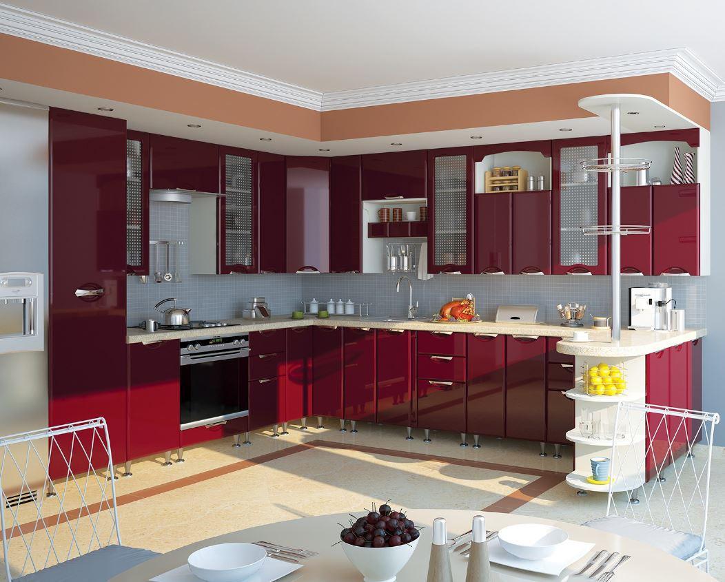 Кухня София Люкс Кухня 2,6 метров, Бордо - Матрас Диван - мебельный интернет магазин в Киеве
