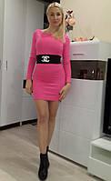 Женское короткое розовое платье Chanel с декором из шеврона Ю 2619