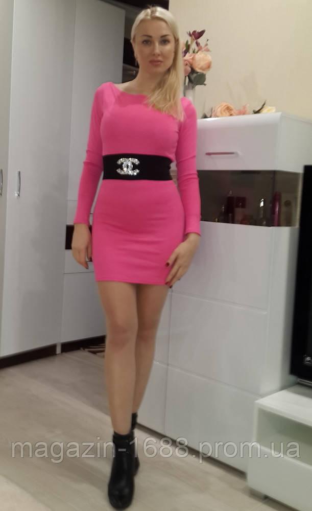 Женское короткое розовое платье Chanel с декором из шеврона Ю 2619 - 1688.com.ua в Одессе