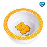 Глубокая тарелка из меламина на присоске с оранжевым медвежонком, Canpol babies