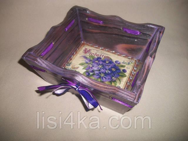 Деревнная фиолетовая конфетница с серебрением и фиалками