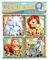 Декорации для детской комнаты - набор наклеек Зверята, Mota