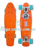 Пенни борд со светящимися колесами Fishskateboards (penny board): оранжевый, до 80кг