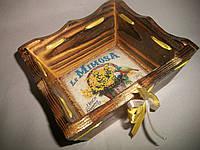 """Деревянная конфетница ручной работы желтого цвета в технике декупаж """"Мимоза"""", фото 1"""