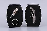 """Набор для вина """"Бочка"""" Черная с золотым ободком 3 предмета (кольцо для бутылки, штопор, дозатор) 752-013"""
