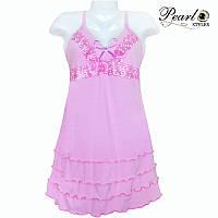 Молодежная ночная рубашка с кружевом 44, Розовый