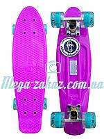 Пенни борд со светящимися колесами Fishskateboards (penny board): фиолетовый, до 80кг