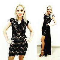 Платье двойка с дорогим кружевом в черном цвете