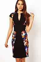 Женское черное платье с цветными вставками L6170
