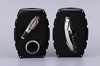 """Набор для вина """"Бочка"""" Черная с серебристым ободком 3 предмета (кольцо для бутылки, штопор, дозатор) 752-014"""