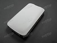 Кожаный чехол флип Fly IQ239 Era Nano 2 (белый)