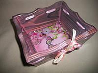 """Деревянная конфетница ручной работы розового цвета в технике декупаж """"Весна"""""""