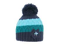 Детская теплая вязанная шапочка с помпоном для девочки от BARBARAS Польша