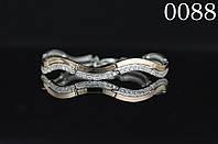 Браслет серебряный змейка с золотыми накладками