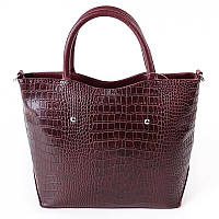 Деловая бордовая сумка крокодиловая с ремешком