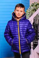 """Куртка демисезонная для мальчика """"Монклер"""" (р.30-40) т.синий, 36"""