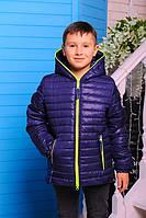 """Куртка демисезонная для мальчика """"Монклер"""" (р.30-40) сапфир, 30"""