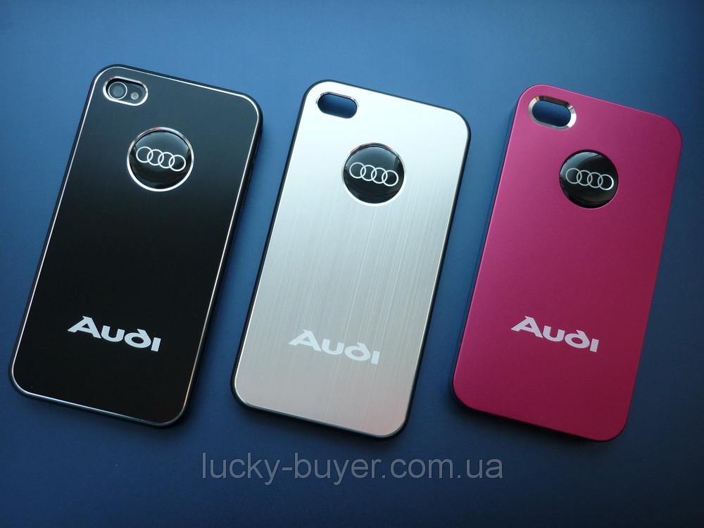 Чехлы для iPhone 4 4S AUDI металлические
