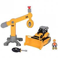 Игровой набор-конструктор Machine Maker бульдозер и подъемный кран CAT, Toy State
