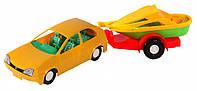 Игрушечная машинка авто-купе с прицепом, желтая, Wader