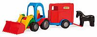 Игрушечная машинка трактор-багги с прицепом и лошадкой, Wader