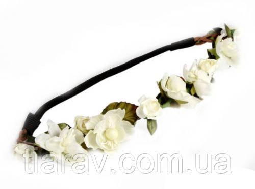 Повязка веночек Ирис белый венок для волос свадебный веночек