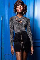 Стильная блуза с принтом Бриз комбинированный_2 Jadone 42-50 размеры