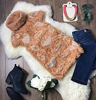 Оригинальный свитер-безрукавка из комбинированной пряжи с воротником-гольфом