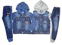 Комбинированный костюм-двойка для мальчика (джинс/трикотаж)