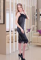 Платье атласное с кружевом. Черное