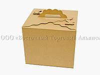 Коробка картонная для торта Бабочка - Коричневая - 300х300х250 мм