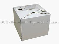 Коробка картонная для торта Бабочка - Белая - 300х300х250 мм
