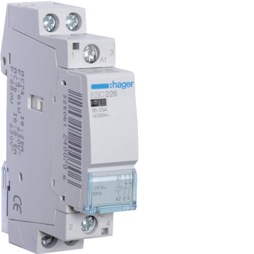 Контактор модульный 25A, 2НЗ, 230В AC Hager ESC226