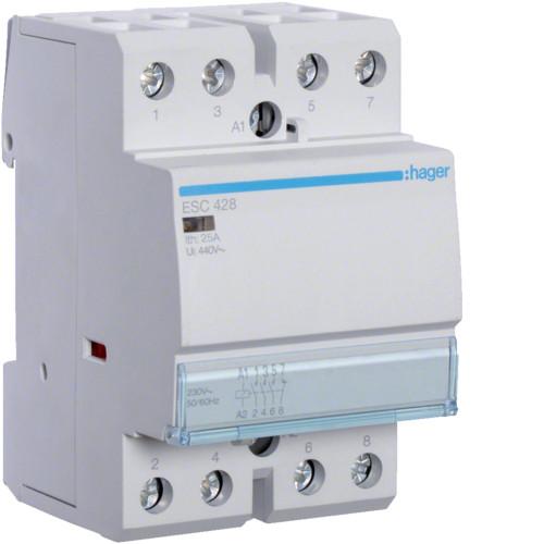 Контактор модульный 25A, 3НО+1НЗ, 230В AC Hager ESC428