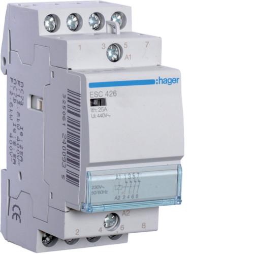 Контактор модульный 25A, 4НЗ, 230В AC Hager ESC426