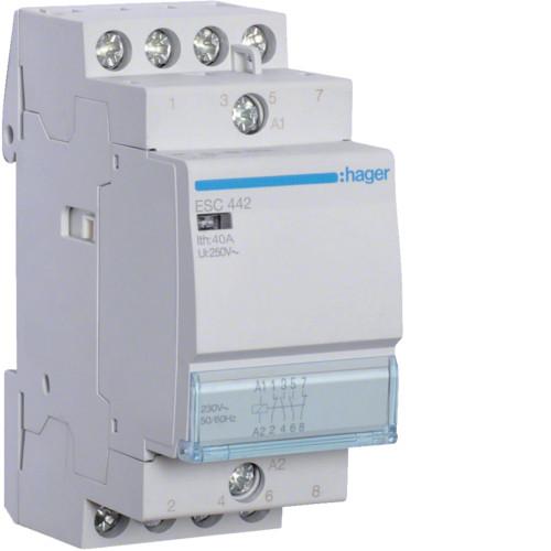 Контактор модульный 40A, 2НО+2НЗ, 230В AC Hager ESC442