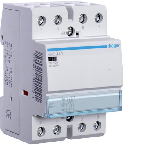 Контактор модульный 40A, 4НО, 230В AC Hager ESC440