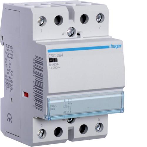 Контактор модульный 63A, 2НЗ, 230В AC Hager ESC264