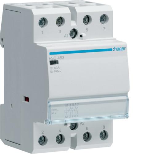 Контактор модульный 63A, 4НО, 230В AC Hager ESC463