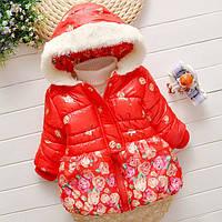 Куртка демисезонная для девочки в цветах на рост 99 — 104 см