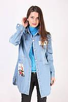 Кардиган женский джинсовый с нашивками
