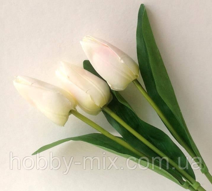 """Тюльпаны БЕЛЫЕ(с розовым) искусственные  3 шт. - Интернет-магазин """"HobbyMIX"""" в Запорожье"""