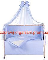 Детская постель c аппликацией Жаккард Gold (ангелочек с коричневым сердцем) голубая