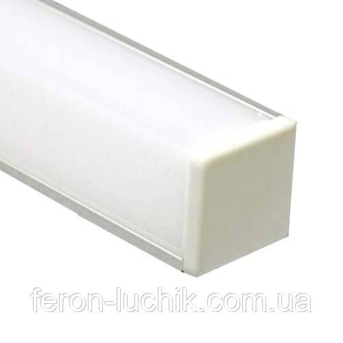 Алюмінієвий профіль для світлодіодної стрічки Feron CAB 281 (кутовий квадратний) 2м