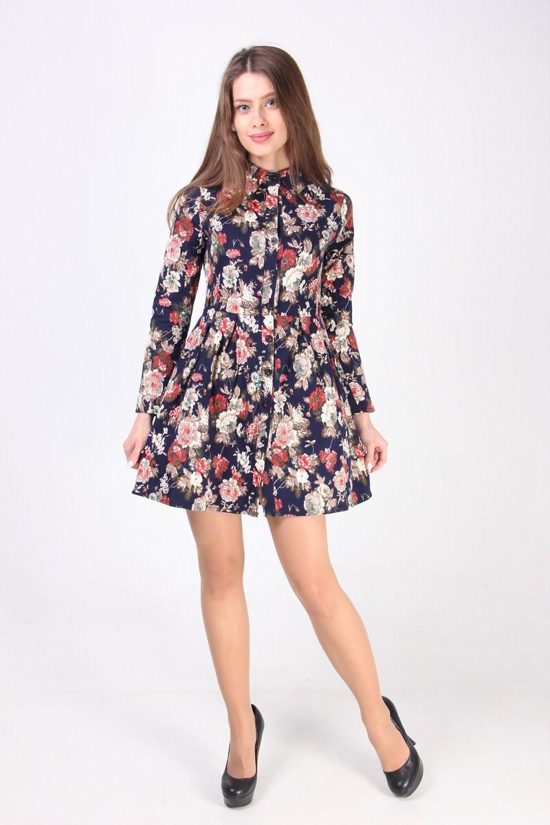 9a0b8d2ea65 Женская рубашка-туника в цветочный принт - Интернет-магазин «KatrinStyle» в  Хмельницком